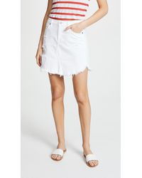 7 For All Mankind - Skirt With Frayed Hem - Lyst