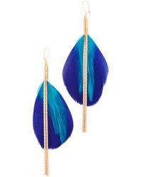 Serefina - Double Drop Feather Earrings - Lyst