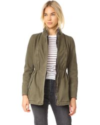 June - Stone Washed Parka With Removable Fur Trim - Lyst