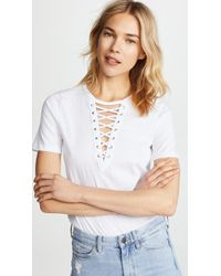 Glamorous - Lace Up Tee - Lyst