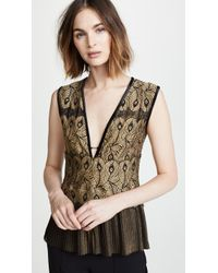 Yigal Azrouël - Golden Lace Top With Pleats - Lyst