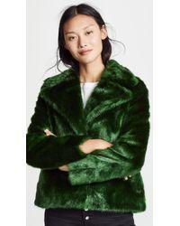 FRAME - Notched Collar Fur Coat - Lyst