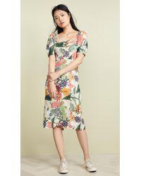 9c70d4cc967c4 FARM Rio - Vintage Garden Midi Puffed Sleeve Dress - Lyst