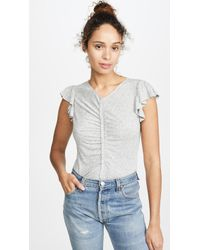 Rebecca Taylor Ruched Seam Flutter Sleeve Tee - Gray