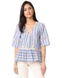 Liv - Mode Lace Up Stripe Top - Lyst