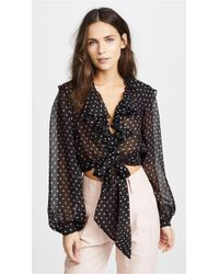 Temperley London - Dot Printed Ruffle Blouse - Lyst