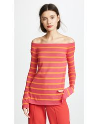 Goen.J - Off Shoulder Knit Top With Stripes - Lyst