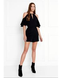 Rachel Zoe - Gemini Cold-shoulder Stretch-crepe Romper - Lyst