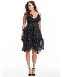 Rebecca Taylor - Navy Metallic Tiered Chiffon Dress - Lyst