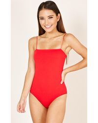 Showpo - Stitched You Up Bodysuit In Red - Lyst