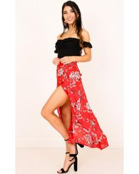 Showpo - Back To Life Skirt In Red Floral - Lyst