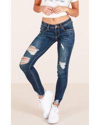 Showpo - Callie Skinny Jeans In Dark Wash - Lyst
