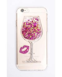 Showpo - Friday Night Wine Iphone Cover In Pink And Gold Glitter - 6 - Lyst