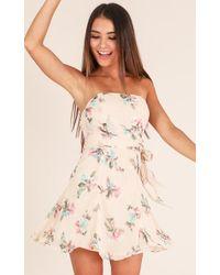 Showpo - Go My Own Way Dress In Beige Floral - Lyst