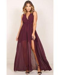Showpo - Melt Your Heart Maxi Dress In Wine - Lyst