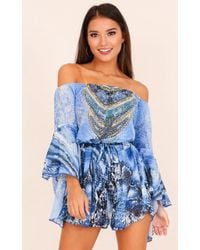 Showpo - Set Me Free Playsuit In Blue - Lyst