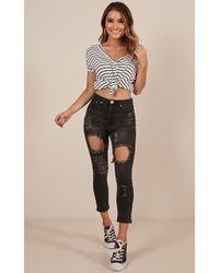 Showpo - Georgia Mum Jeans In Black Denim - Lyst