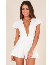 Showpo | Dream Babe Playsuit In White Lace | Lyst