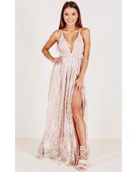 Showpo - New York Nights Maxi Dress In Gold - Lyst