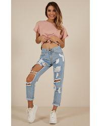 Showpo - Hailey Ripped Jeans In Light Wash Denim - Lyst