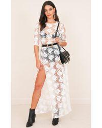 Showpo - Dream Town Dress In White Lace - Lyst