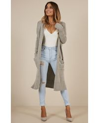 Showpo - League Of Your Own Cardigan In Grey - Lyst