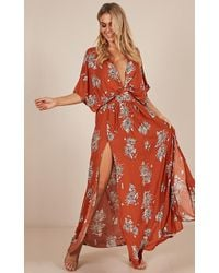 Showpo - Vacay Ready Maxi Dress In Rust Floral - Lyst