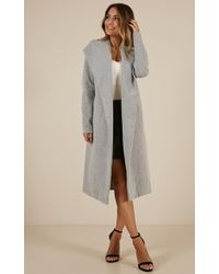 Showpo - New York's Calling Coat In Grey - Lyst