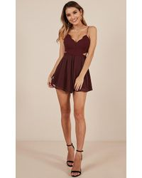 Showpo - One Step Closer Playsuit In Wine - Lyst