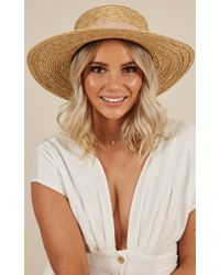 Showpo - Far From Home Hat In Natural And Blush - Lyst