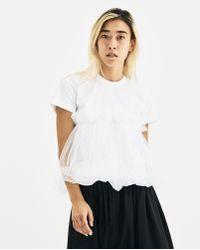 Noir Kei Ninomiya - White T-shirt With Ruffle Overlay - Lyst