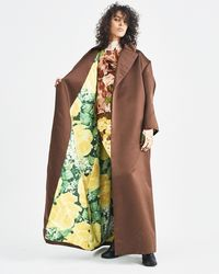 Richard Quinn - Brown Oversized Coat With Floral Lining - Lyst