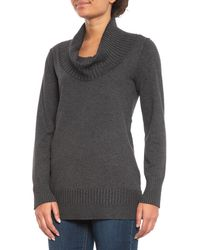 Lyst Cable Gauge Ribbed Cowl Neck Tunic Sweater For Women In Gray
