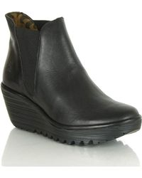 Fly London - Black Wedge Ankle Boot - Lyst