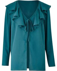 Simply Be - Teal Frill Tie Kimono Top - Lyst