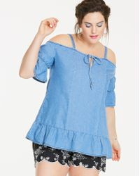 65e098b1195a87 Lyst - Ashley Stewart Plus Size Denim Bustier Peplum Blouse in Blue