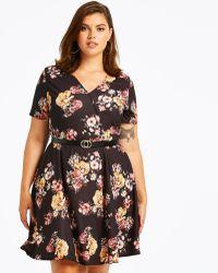 Simply Be - Floral Print Skater Wrap Dress - Lyst