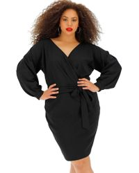 bae4325bcb Lyst - Eloquii Puff Sleeve Tie Back Ponte Dress in Black