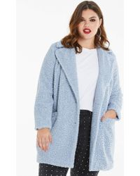Simply Be - Pale Blue Teddy Fur Coat - Lyst