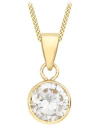 Simply Be - 9ct Gold Single Solitaire Necklace - Lyst