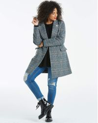 Simply Be - Double Breasted Check Longline Coat - Lyst