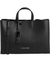 82ec86cba8 Calvin Klein Ck Large Tote Monogram Black in Black - Lyst