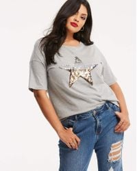 Simply Be - Grey Marl Sequin Star Placement T-shirt - Lyst
