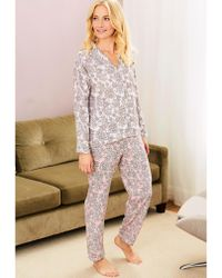 Lyst - Bodas Ladies Striped Button Fastening St Moritz Cotton Pyjama ... 66175b006