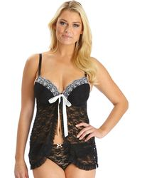 Simply Be - Naturally Close Red Lace Babydoll - Lyst
