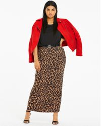 Simply Be - Leopard Print Jersey Maxi Tube Skirt - Lyst