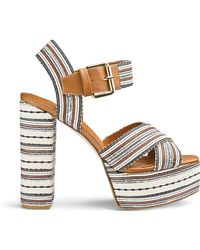 54d309a47c2 Simply Be - Glamorous Striped Heeled Sandal - Lyst