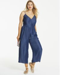 905b31a33c41 Simply Be - Soft Lyocell Denim Wrap Front Culotte Jumpsuit - Lyst