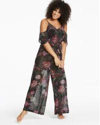 Simply Yours - Black Floral Cold Shoulder Jumpsuit - Lyst