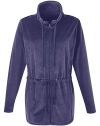 Simply Be - Longline Velour Zipper Front Jacket Jacket - Lyst